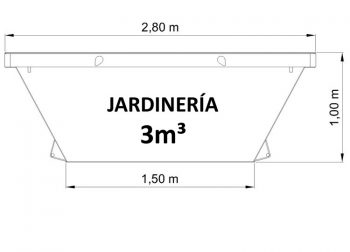 Contenedor de 3m³ para restos de jardinería